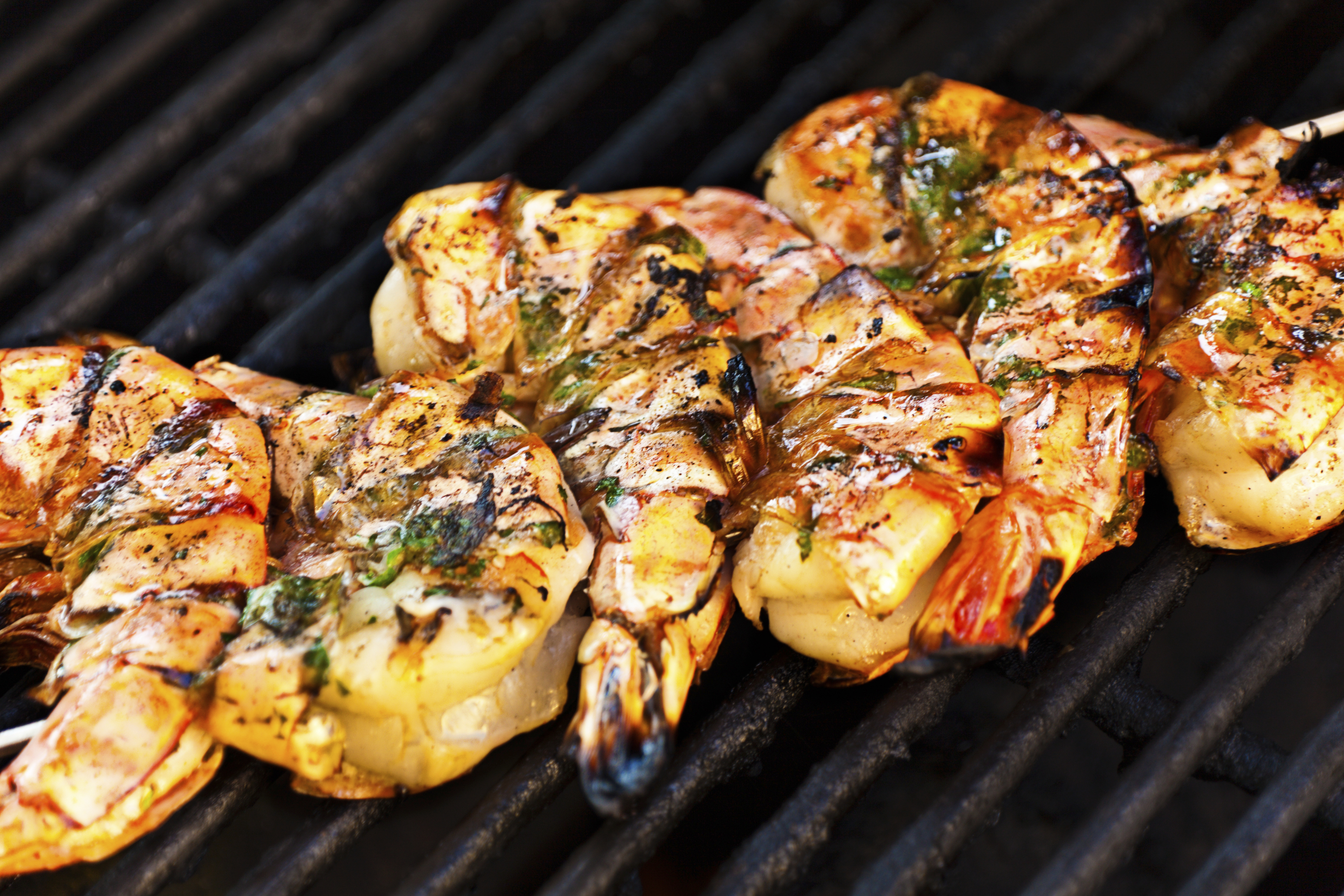 A skewer of large shrimps or prawns on a barbecue grill, ready and just before service. The shrimps are marinated in herbs and oil and caramelized in high temperature. Grill shrimps, a poplar seafood in many culture worldwide. Photographed close-up in horizontal format.